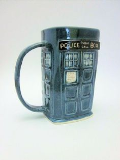 A handmade TARDIS mug.