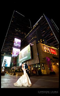 A beautiful couple amid the backdrop of LA Live. Credit: Cameron Leung Photography