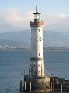New Lighthouse of Lindau on Lake Constance, Germany. Built betweem 1853-1856. Height 33 meters