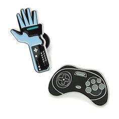 ThinkGeek :: Retro Video Game Collectible Enamel Pin Set Series 5 Sega Saturn controller pin!!!