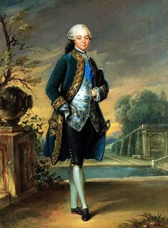 """Circle of Louis-Gabriel Blanchet (1705-1772): """"Portrait of a Nobleman wearing the sash of the Order of the Saint Esprit, a capriccio view of the park of Versailles beyond"""". 18th century."""