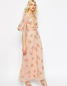 ASOS | ASOS Flutter Sleeve Maxi Dress With Pretty Florals at ASOS