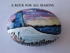 """Hand Painted Landscape """"Winter Lighthouse"""" / Caribbean Beach Pebble / Acrylic Paints and Finished with a Triple-Thick Clear Glaze"""