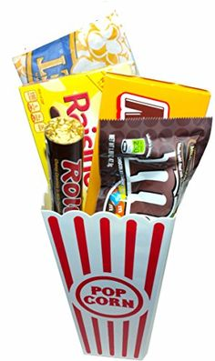 Movie Night Popcorn and Candy Gift Basket  Includes Movie Theater Butter Popcorn and Concession Stand Candy Milk Duds ** To view further for this item, visit the image link.