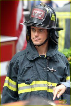 Matt Bomer: Fire Fighter on 'White Collar' Set!