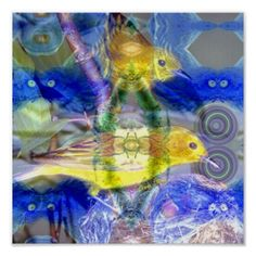 Nature Reflections I - Gold & Blue Birds poster  #DianeClancy