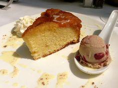 #dessert #peach #cake #cherry #eatlocal #local  Upside Down Baltimore Peach Cake served with cinnamon anglaise and EarlGrey-Morello Cherry ice cream