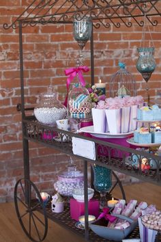 vintage cart makes great dessert table