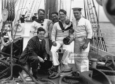 Able Seamen (left to right) Walter How (1885 - 1972), Oswald Barr, Joe Irving and Thomas McLeod (1873 - 1960) with Macaulay (front, ship's cook as far as Buenos Aires), on board Shackleton's expedition ship SS Endurance at Millwall Docks, London, before sailing to Buenos Aires and the Antarctic, 1st August 1914. (Photo by Topical Press Agency/Getty Images)
