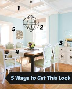 DIY Home Ideas   Looking for dining room inspiration? Check out links to five DIY tutorials to help you get the look of this eclectic dining room for LESS!