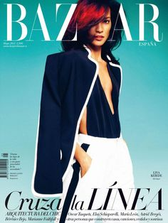 Liya Kebede sports Gucci on the cover of the May 2012 issue of Harper's Bazaar Spain.