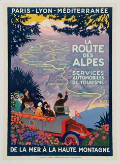 'La Route Des Alpes' by Roger Broders, 1920 | From a unique collection of antique and modern posters at http://www.1stdibs.com/furniture/wall-decorations/posters/