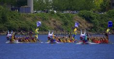 https://flic.kr/p/J86z2P | Dragon Boat Races | Three of four Dragon boats in the race... big crowd on the opposite river bank, watching and cheering... There is a fourth boat in the race to...