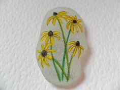 Maryland Black Eyed Susan flower - Acrylic miniature painting on English sea glass