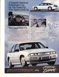 original articles/ads are perfect for display at car shows or any other collecting for the car enthusiast. Each one has been removed from a vinta Retro Cars, Vintage Cars, Pontiac Cars, Car Brochure, Cars Usa, Pontiac Grand Prix, American Classic Cars, Car Advertising, Old Ads