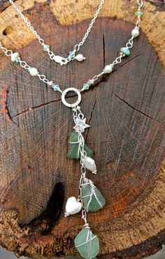 Sea Glass YChain Necklace by mermaidtears on Etsy, $80.00