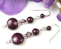 Blackberry Pearl Earrings Swarovski Crystals Sterling Silver Handmade @prettygonzo #bmecountdown