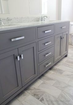loving this vanity! It looks custom but was a fraction of the cost. Sources on the blog | www.theharperhouse.com