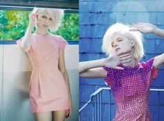 Amy Winter_Orange Petal Dress. Photochromic screen print changes from clear to purple in sunlight