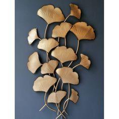 Decoratiune de perete metalica frunze de Ginko aurie 76x130cm Wall Decor, Metal, Modern, Table, House, Interiors, Furniture, Home Decor, Ideas
