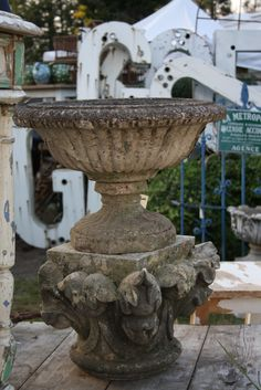 Aged & Weathered Garden Concrete Urn & Pedestal at Atelier de Campagne Lovely! Garden Urns, Garden Planters, Boxwood Garden, Garden Bed, Vases, Garden Ornaments, French Decor, Garden Inspiration, Garden Ideas