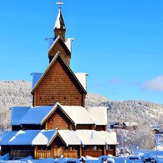 "Stavkirkene er Norges viktigste bidrag til den europeiske bygningskunst. RepostBy ""Heddal stave church a masterwork of wood and the largest of the 28 stave churches in Norway from the and still in use on a beautiful winter day (via Winter Day, Instagram Feed, Norway, Den, Louvre, Cabin, House Styles, Wood, Building"