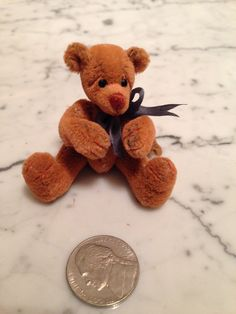 "Mary Bures, A GRand Scale, IGMA fellow - 2 1/2"" teddy bear ""Webster"", sold on ebay for $59.95"