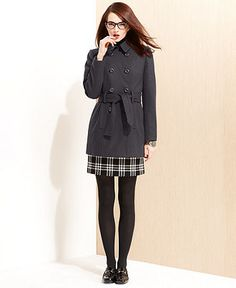 Nine West Coat, Wool-Blend Belted Trench Coat - Womens Coats - Macy's