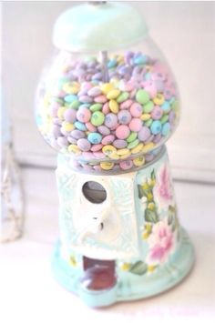 pastel m's into our candy dispenser. Inspiration (See How She makes over Vintage Gumball Machines into these lovelies) :) Candy Dispenser, Bonbons Pastel, Girly Things, Cool Things To Buy, Girly Stuff, Pastel Colors, Colours, Pastel Palette, Soft Pastels