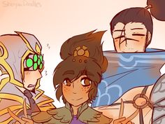 I ABSOLUTELY LOVE THIS STONE CHILD.(ft, still proud dad Yasuo and Yi who can't believe he is a mom now) - Taliyah, League of legends