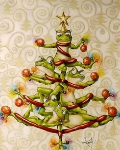 Frog Christmas tree by Anouck Goulet