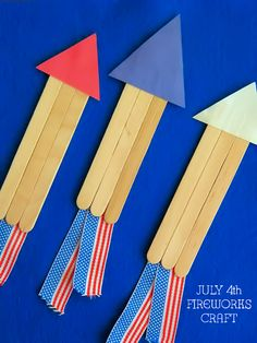 Craft Stick July 4th Fireworks Craft, Independence Day Kids Craft