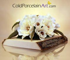 Pièce maîtresse fleur de Magnolia - Art de la porcelaine froide - fait sur commande