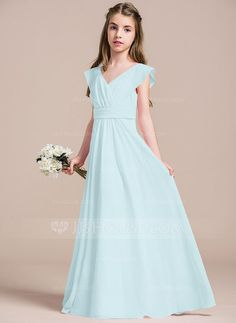 Junior Bridesmaid Dress- Blush A-Line Princess V-neck Floor-Length Ruffle  Zipper Up Regular Straps Sleeveless No Blushing Pink General Chiffon Junior  ... 58dfc6c6c3b1