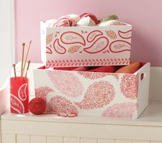 Craft Painting - Floral Paisley Storage Boxes.  These are so pretty and easy to make yourself...