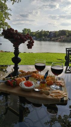 Wine and cheese tray at the lake
