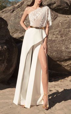 Zuhair Murad One-Shoulder Embroidered Wide-Leg Cady Jumpsuit - Fashion Trends Girls Dresses Online, Evening Dresses Online, Girls Formal Dresses, Elegant Dresses, Evening Gowns, Strapless Dress Formal, Casual Dresses, Fashion Dresses, Gowns Online