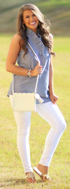 Complete your preppy OOTD with a cute monogrammed scalloped crossbody!