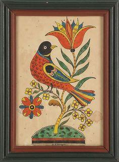 Fraktur Bird, Cat, Folk Art, Fraktur Art Pennsylvania, Fraktur Designs, Beautiful Fraktur, Watercolor Fraktur, Ellinger Watercolor, Folkart