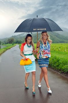 "Trendy, Colorful & ""Hot""! -Kauai Girls!  ReCreate this style with mixed prints & color splashes from your fashion friends at Kukui Grove Center!    (in photo) -Pro surfer Alana Blanchard (left) and Bethany Hamilton (right) grew up in Kauai."