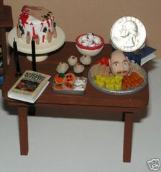 Dollhouse Miniature Halloween Party Table Food Filled 1 12 1 inch Scale | eBay