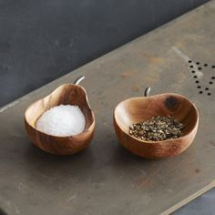 Kitchen ideas and gadgets! Apple & Pear Pinch Bowl Set. Solid Bayong wood is hand shaped into salt and pepper pinch bowls. Great addition to any Dinnerware collection.