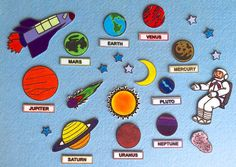 Summer Bulletin Boards, Solar System Projects, Felt Stories, Flannel Boards, Diy Cutting Board, Space Theme, Busy Book, Felt Toys, Pin Collection