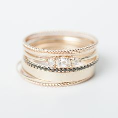 Solid 14k yellow hand-twisted stackers look great on first knuckles, or regular style. Add a beautiful bit of simple sparkle. Made by hand in NY.