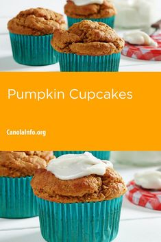 Pumpkin and baking spices transform these cupcakes into the ultimate fall treat. Muffin Cups, Muffin Cupcake, Icing Ingredients, Pumpkin Cupcakes, Fall Treats, Canola Oil, Vegetarian Cheese, Pumpkin Puree, Pumpkin Recipes