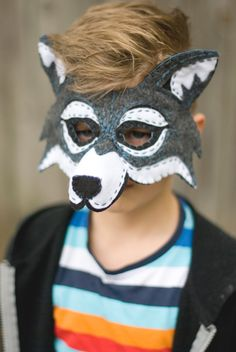 Wolf Mask Handmade Felt Embroidered Details--Halloween Children Photography Prop Animal Costume