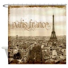 Vintage Paris Eiffel Tower Scripts Shower Curtain | Tower, French Bathroom  And Shower Rod