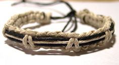 Adjustable hemp surfer bracelet via Etsy