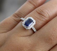 Emerald Cut Sapphire & Diamond Halo Engagement Ring in 14K