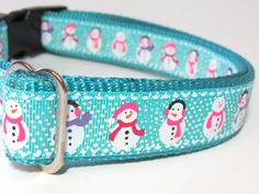 Snowman Dog Collar  Snowy Winter Martingale or by CollarHabit, $18.99